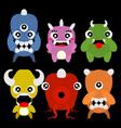 A set of cute cartoon monsters vector image