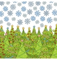 Pattern with Christmas tree and snowflake for vector image