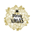 Golden wreath and Merry Xmas vector image