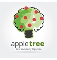Abstract apple tree logotype isolated on white vector image