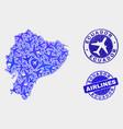aircraft mosaic ecuador map and grunge vector image vector image