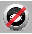 black metallic ban button grilling fish and smoke vector image vector image
