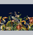 border with birds and tropical leaves and flowers vector image vector image