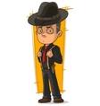 Cartoon serious mafiosi in black hat vector image vector image
