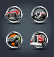 cartrucksuv steely rounded badge icon for uigame vector image vector image
