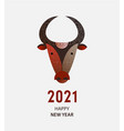 chinese new year 2021 zodiac ox happy new year vector image