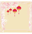 Chinese New Year with lanterns card vector image vector image