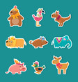 collection cute cartoon animal stickers bear vector image vector image