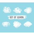 Collection of Hand Drawn grunge Clouds on the blue vector image