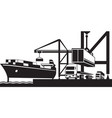 crane loading industrial ships with containers vector image vector image