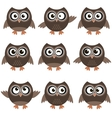 Cute owls with various emotions vector image
