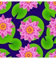 Dark background seamless pattern with lotus vector image