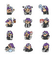 expressive purple haired girl sticker set 1 vector image vector image