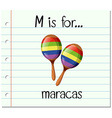 Flashcard letter M is for maracas vector image vector image