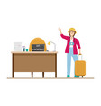happy girl goes on vacation from work vacation vector image vector image