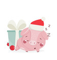happy new year greeting card with cute pig vector image vector image