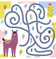 help cute llama get to cactus vector image vector image