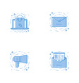icons with laptop with email speaker and letter vector image vector image