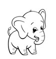 infant elephant standing coloring book image vector image