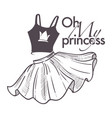 oh my princess shop logo with top and flared skirt vector image vector image