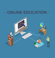 online education process template poster vector image