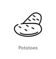 outline potatoes icon isolated black simple line vector image vector image