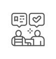 parcel delivery to recipient logistics line icon vector image vector image