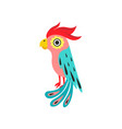 parrot with crest tropical bird with colored vector image vector image