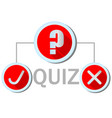 quiz emblem in flat design with question mark icon vector image vector image