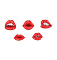 red woman lips with smile sensual female mouth vector image vector image