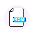 rom file format extension color line icon vector image vector image
