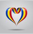 romanian flag heart-shaped ribbon vector image vector image