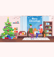 senior man in elf hat giving present gift box to vector image vector image