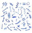 set blue watercolor arrows vector image