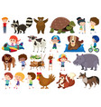 set isolated objects theme animals and kids vector image vector image