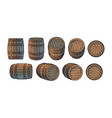 set old wooden barrels in different positions vector image