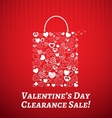 Shopping bag for Valentines day vector image