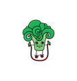 sketch broccoli jumping on skipping rope vector image vector image