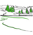 spring in the woods sketch hand drawn landscape vector image