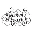 Sweet dreams vintage text calligraphy vector image