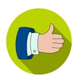 Thumb up icon in flat style isolated on white vector image vector image