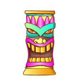 tiki idol carved wooden totem color vector image vector image