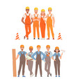 two teams builders in overalls with tools vector image vector image