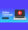 video tutorial online player icon media player vector image vector image