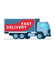 warehouse fast delivery grey big shipping truck vector image vector image