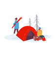winter camping and relaxing in holidays vector image vector image