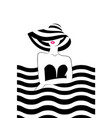 woman with hat at the sea vector image vector image