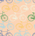 Seamless pattern of colorful bicycles Flat style vector image
