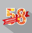 58th Years Anniversary Celebration Design vector image vector image