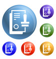 approved stamp icons set vector image vector image